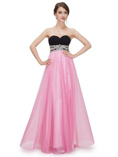 Strapless formal dress with a black sweetheart bodice, rhinestone decorated waist and full shimmering baby pink skirt