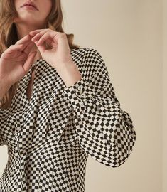 REISS - EDNA CHECK PRINTED FIT AND FLARE DRESS Reiss Dresses, Check Printing, Flare Dress, Polka Dot Top, Fit And Flare, Printed, Fitness, Tops, Women