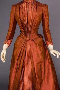 COPPER SILK BUSTLE DRESS, 1880s - 5