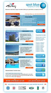 Email newsletter design for Spot Blue property in Turkey. Email Newsletter Design, Email Newsletters, Email Design, Html Email, Design Development, Design Agency, Turkey, Blue, Turkey Country