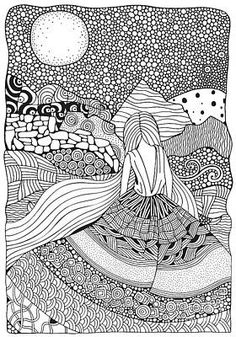 Young Girl With Long Hair. Beautiful, Long Dress In Zentangle Style. Adult Color… Young Girl With Long Hair. Beautiful, Long Dress In Zentangle Style. Adult Coloring Book Page In Doodle Art Drawing, Zentangle Drawings, Mandala Drawing, Zentangle Patterns, Art Drawings, Drawing Flowers, Drawing Ideas, Doodling Art, Book Drawing