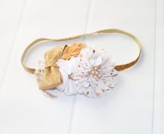Stargazing - headband in white and gold with plenty of sparkle and glitz  (RTS) by SoTweetDesigns on Etsy