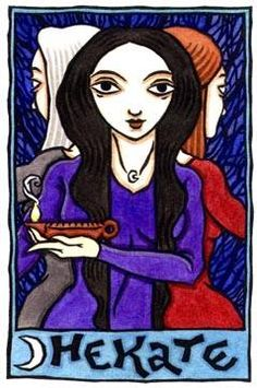 Hecate or Hekate (/ˈhɛkətiː, ˈhɛkɪt/; Greek Ἑκάτη, Hekátē) is a goddess in Greek religion and mythology, most often shown holding two torches or a key[1] and in later periods depicted in triple form. She was variously associated with crossroads, entrance-ways, dogs, light, the moon, magic, witchcraft, knowledge of herbs and poisonous plants, ghosts, necromancy, and sorcery. by: Thalia Took