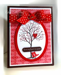 Me, My Stamps and I: Happy Valentine's Day Stamps: Branch Out, P.S. I Love You Paper: Chocolate Chip, Real Red, Whisper White, DSP, glimmer paper Ink:  Chocolate Chip, Real Red, Whisper White craft Accessories: polka dot ribbon, button/linen thread Tools:  Big Shot, oval framelits, window punch, dimensionals