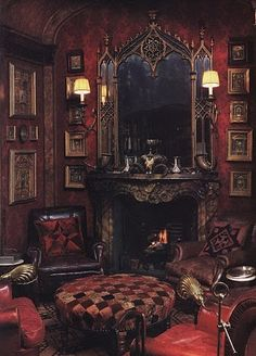 This parlor.is in a mansion that was built in the late 1860'. Cozy fire indicates a cold evening.