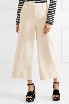 Sonia Rykiel - Cropped Stretch-cady Wide-leg Pants - Ivory - FR36