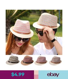 ecf4538dafa Fashion Men Women Straw Hat Fedora Trilby Summer Beach Sunhat Cap Braided  Color  ebay  Fashion