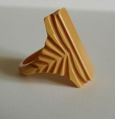Vintage Art Deco Butterscotch Bakelite Ring by RevampedVintage1973,  on etsy.com