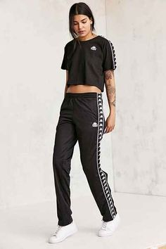 Shop Kappa Dee Snap Button Track Pant at Urban Outfitters today. Sport Fashion, Fashion Pants, 90s Fashion, Fashion Outfits, Womens Fashion, Sport Outfits, Girl Outfits, Casual Outfits, Jogger Pants Outfit