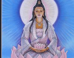 Poster art de Kuan Yin Lotus Bouddha méditation de déesse bouddhiste impression de peinture par Sue Halstenberg de guérison spirituelle par HalstenbergStudio