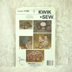 Quilted Bunholder Placemat Pattern Kwik Sew pattern 1135, year 1981 Kerstin Martensson design Quilted table accessories, placemats, bunholders, hen bunwarmer, casserole holder Printed paper pattern, uncut