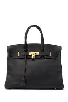 Vintage Hermes Leather Birkin 35 Stamp Square A Gold Hardware Handbag