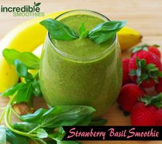 http://www.incrediblesmoothies.com/ Strawberry Basil Smoothie  -6 medium strawberries -6 fresh basil leaves -2 tablespoon chia seeds, soaked for 5 minutes -1 banana, peeled -2 cups baby spinach -8 ounces homemade almond milk