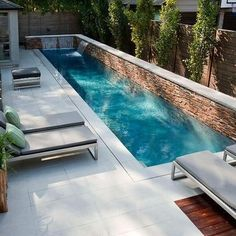 If we had a pool, it would be like this. Fantastic Small Backyard Swimming Pool Gives Peaceful Atmosphere : Modern Backyard Design Small Backyard Swimming Pool Lounge Enclose Patio