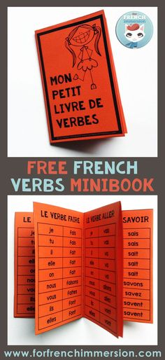 Are your students struggling to master French verbs conjugation? - FREE French Verbs Minibook: your students will enjoy creating this mini-book to help them conjugate - French Verbs, French Grammar, English Grammar, High School French, French Kids, Free In French, French Flashcards, French Worksheets, French Teaching Resources
