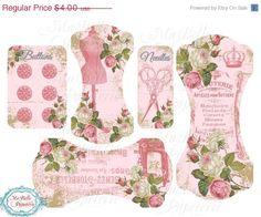 La mitad de Precio de Venta rosas Elegantes lamentables cinta y Ephemera o el Titular de encaje - Descarga Instantanea digitales