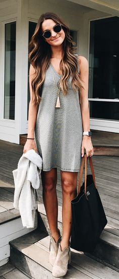 #fall #outfits Grey Dress + Suede Booties