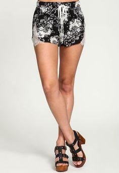Black Floral Garden Lace Running Shorts,