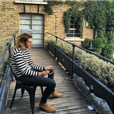 Instagram regram: Dougie Poynter, men's fashion, stripe jumper, Saint Laurent boots, style