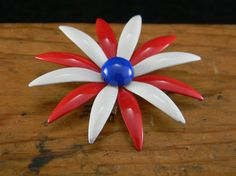 Red White and Blue Enamel Flower Brooch 1960s by VogelHausVintage #enamelflower #vintage #etsyforsale
