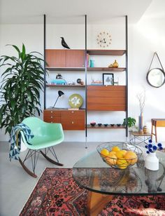 Mid-century Wall Units Harmoniously Accompany Your Modern House: Comfy Decoration Room With Cool Shelving From Oak Accent Design And Glass R...