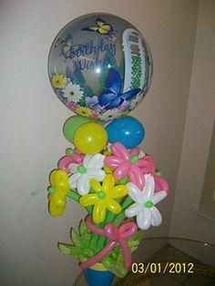 Birthday wishes all balloon flower bouquet