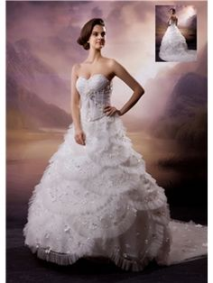 Pretty A-line Chapel Strapless Floor-length Appliques Wedding ...