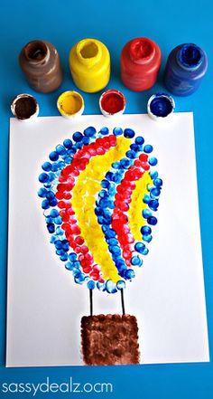 Fingerprint Hot Air Balloon Craft for Kids - Sassy Dealz  #kidscraft #preschool