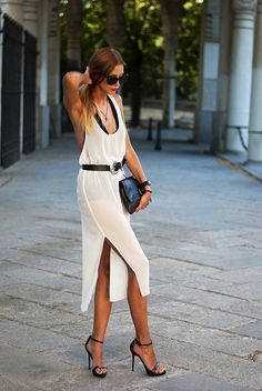 white dress with black heels