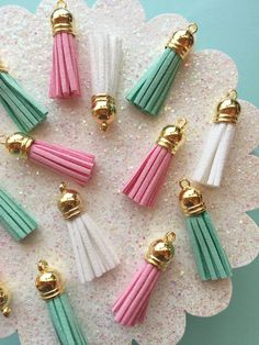 Faux Suede Tassel Mix  6 pieces  Small Tassels by TheMintBeadery