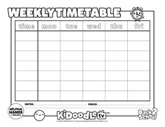 Start school off right with this customizable and color in weekly time table, perfect for #backtoschool!  #KidoodleTV #SafeStreaming Back To School, Routine, Recipe, Tv, Table, Kids, Color, Young Children, Boys