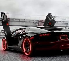 Lambo Aventador with red accents <3