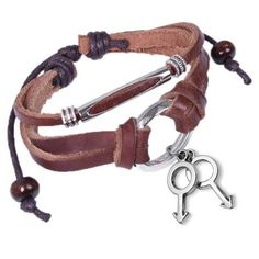 Male Leather & Copper Leather Wristlet w/ Hanging Male Symbol Charms - Gay Pride Bracelet (I want!)
