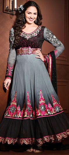 408101, Bollywood Salwar Kameez, Georgette, Machine Embroidery, Resham, Stone, Patch, Zari, Black and Grey Color Family