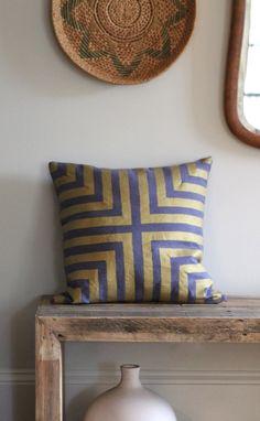 Handprinted pillow cover in metallic gold on slate blue organic hemp 20x20 DOHA
