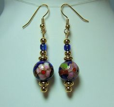 Blue Green Chinese Cloisonne Earrings with Pink by JewelrybyIshi, $16.50