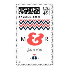 Modern Chevron (Coral and Navy) Wedding Postage Stamps