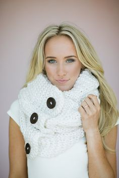 Knitted Button Infinity Scarf Loop Chunky Knitted Infinity Wrap Scarf with Vintage Oversized Buttons Women's Fashion Snood in Ivory White on Etsy, $78.00