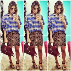 .@Thassia Naves | Lookzinho de domingo! | Sunday look! | Camisa #forever21 saia #BCBG bolsa #he... | Webstagram