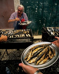 Sardines typically served on the Feast of San Antonio, in June, Lisbon Portugal Visit Portugal, Spain And Portugal, Portugal Travel, Portuguese Recipes, Portuguese Food, Fish And Seafood, Street Food, Wine Recipes, Road Trip