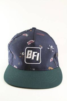 afe2777b2ff Vintage BFI Graphic Golf Trucker Style Hat    Two Toned Blue and Green  Baseball Cap    Adjustable Golfer Dad Hat