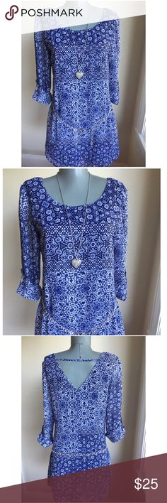 """Gorgeous Blue Dress Gorgeous blue dress. Dress hangs loose with or without belt.  Bust 36"""". Waist area 35"""". Hip area 41"""". Waist area to hem 17"""".  100% polyester. Machine wash. So very pretty. Dresses Mini"""