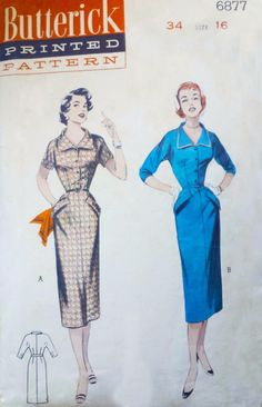 """Vintage 1950s Sewing Pattern DEEP COLLARED SHEATH DRESS Wiggle Bust 34"""""""