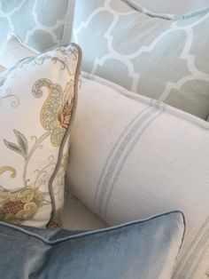 modern+traditional+cottage. this mix of pillows represents my style. :)