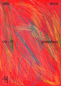 Coleção de cartazes criados para a comemoração dos 8 anos do estúdio Pianofuzz.