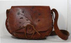 Vintage Retro brown hand tooled leather purse hand bag tote box shape medium woven watkins