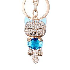 Fashion Enamel Lucky Cat Crystal Keychain Alloy Keyring For Women Party Gift Key chains Keyfob llavero sleutelhanger PWK0257