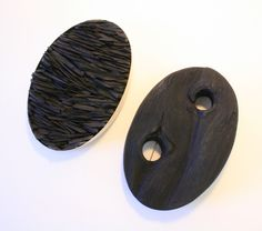 Beth Legg, Burnt Wood and Stone, Brooch Diptych