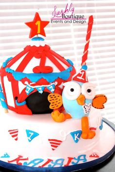 Lushly Boutique Events & Design  Circus Wonderland  First Birthday   Boys Party  Circus Cake