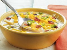 This hearty bowl of creamy potato soup is made rich with crisp bacon and cheese - ready in 15 minutes, it's perfect for lunch.